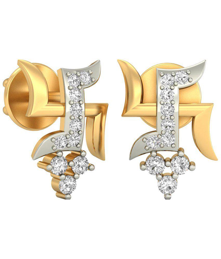 The Ten Stone Swastika Diamond Earrings 14KT Gold WearYourShine by PC Jeweller