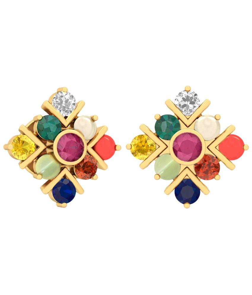 The Sanmani Diamond & Gemstone Earrings 14KT Gold WearYourShine by PC Jeweller