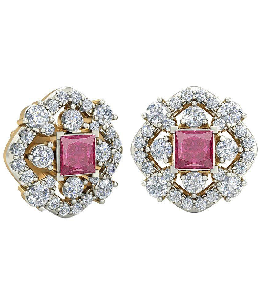 The Scarlette Diamond & Gemstone Earrings 14KT Gold WearYourShine by PC Jeweller