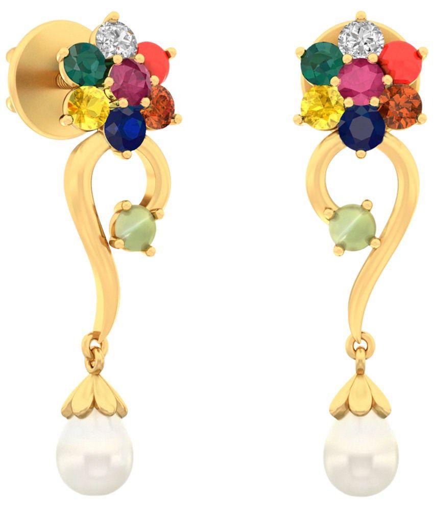 The Christella Diamond & Gemstone Earrings 14KT Gold WearYourShine by PC Jeweller