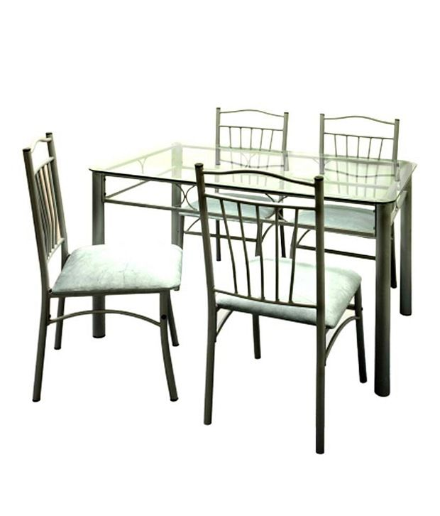 FurnitureKraft Catalina 4 Seater Dining Set with Glass