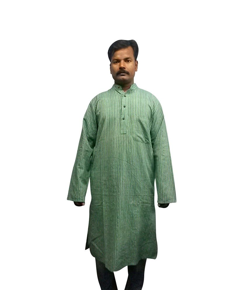 cotton collection pista green colour full sleeves kurta pack of