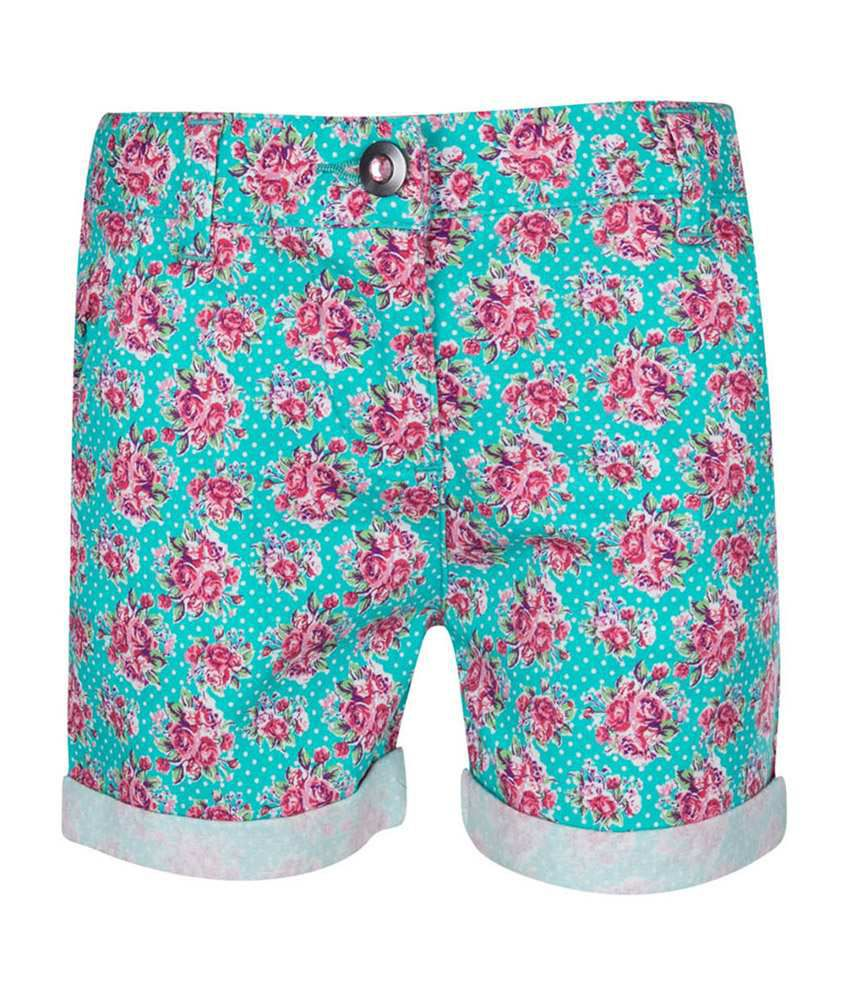 Tickles Green Floral Print Shorts for Girls