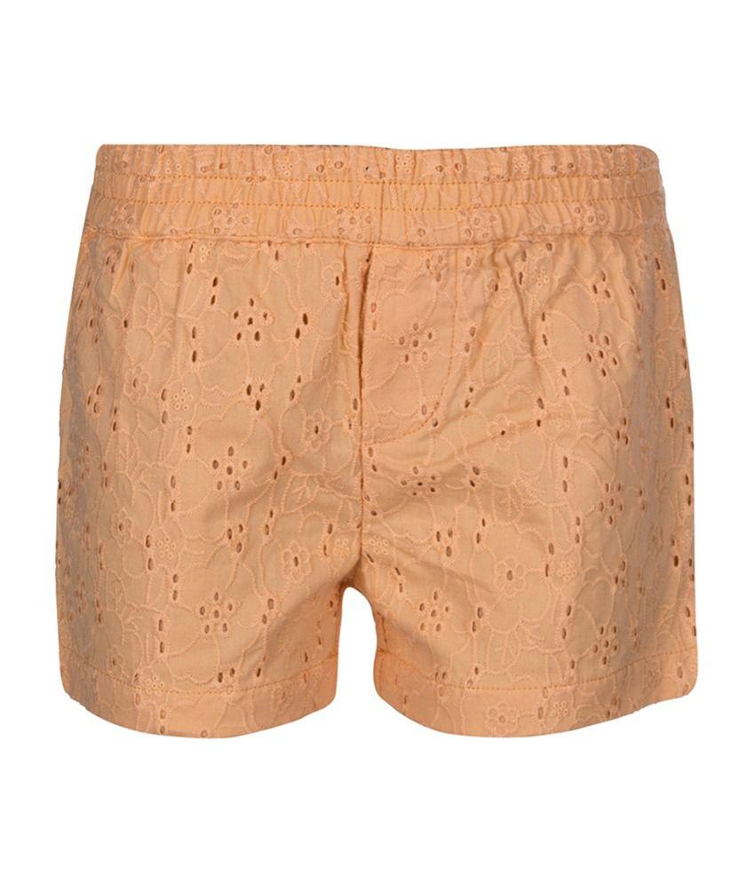 Tickles Orange Floral Design Girls Shorts