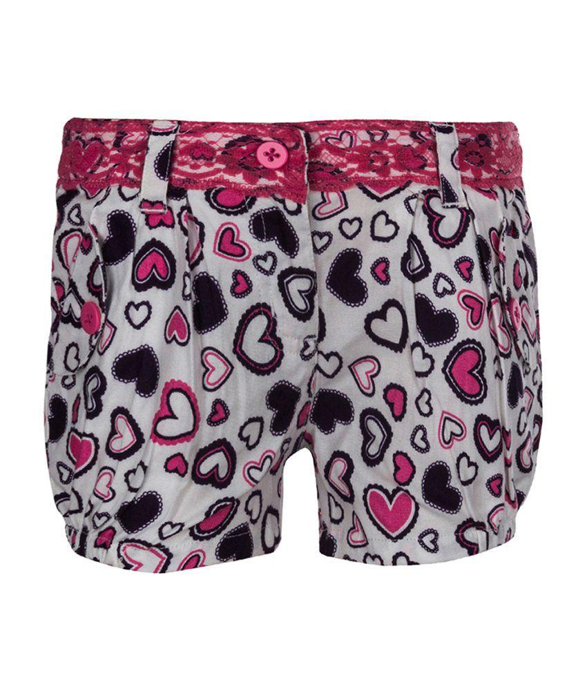 Tickles White Heart Design Shorts