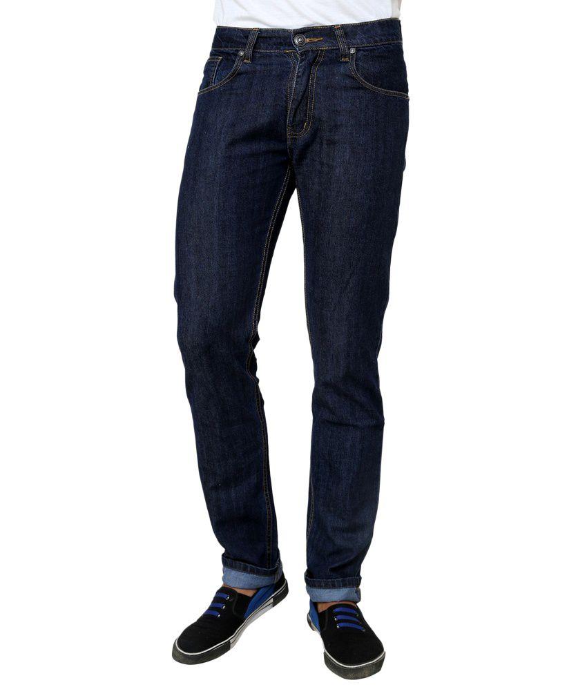 Zaab Cotton Blue Slim Fit Denim Jeans