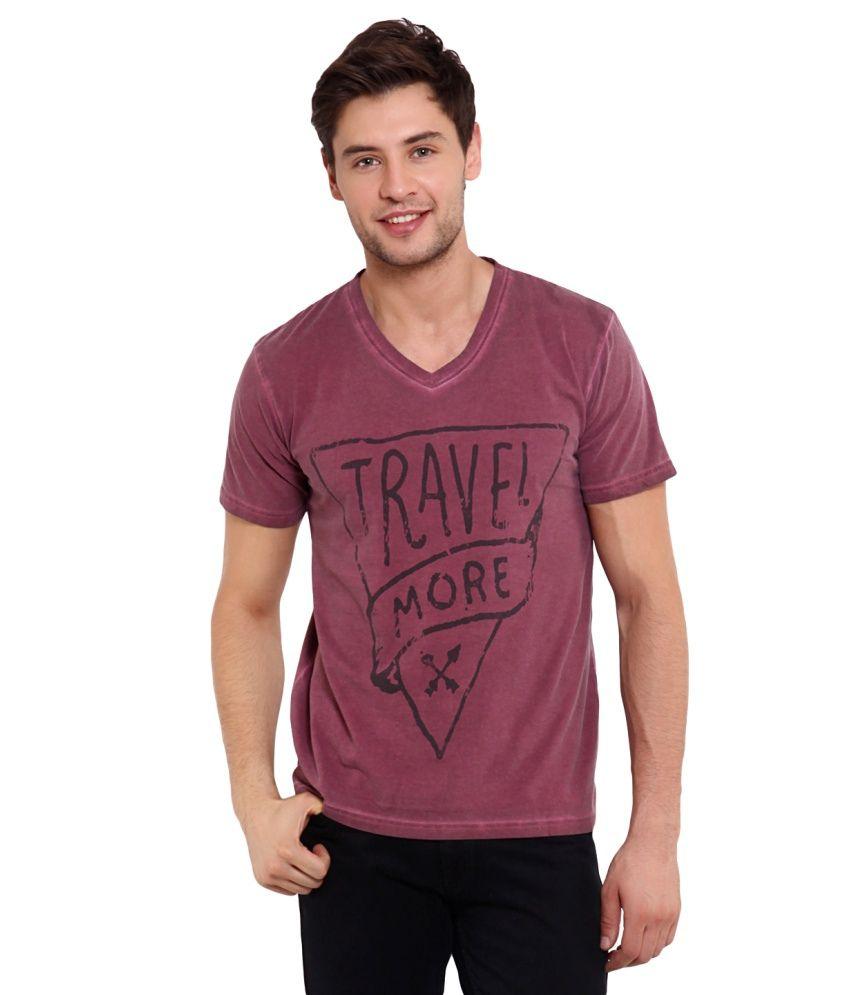 Elaborado Brown Cotton Printed V-Neck T Shirt
