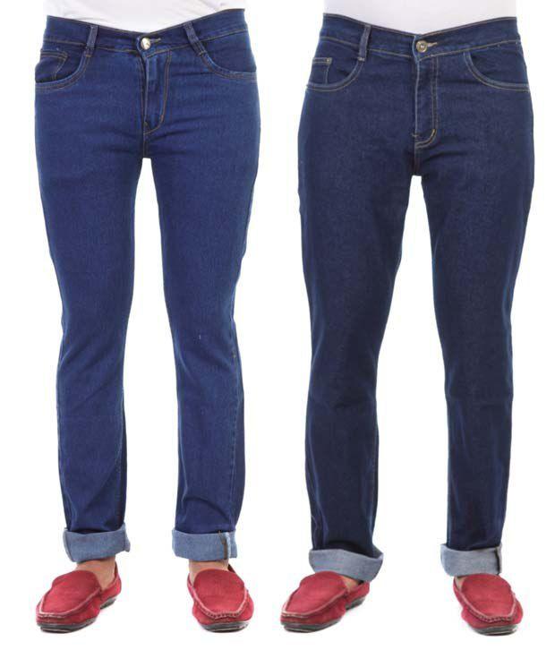 Haltung Blue Cotton Blend Regular Fit Denim Jeans - Pack of 2