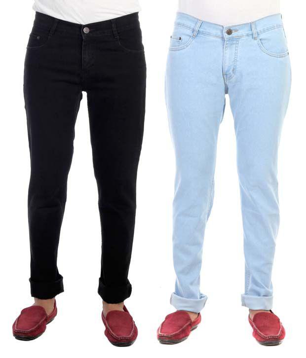 Haltung Multicolor Cotton Blend Regular Fit Stretchable Denim Jeans - Pack of 2