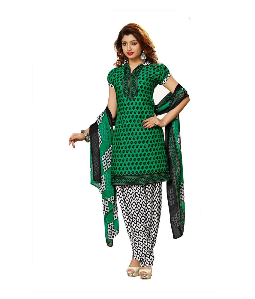 Lace House Green Cotton Unstitched Dress Material