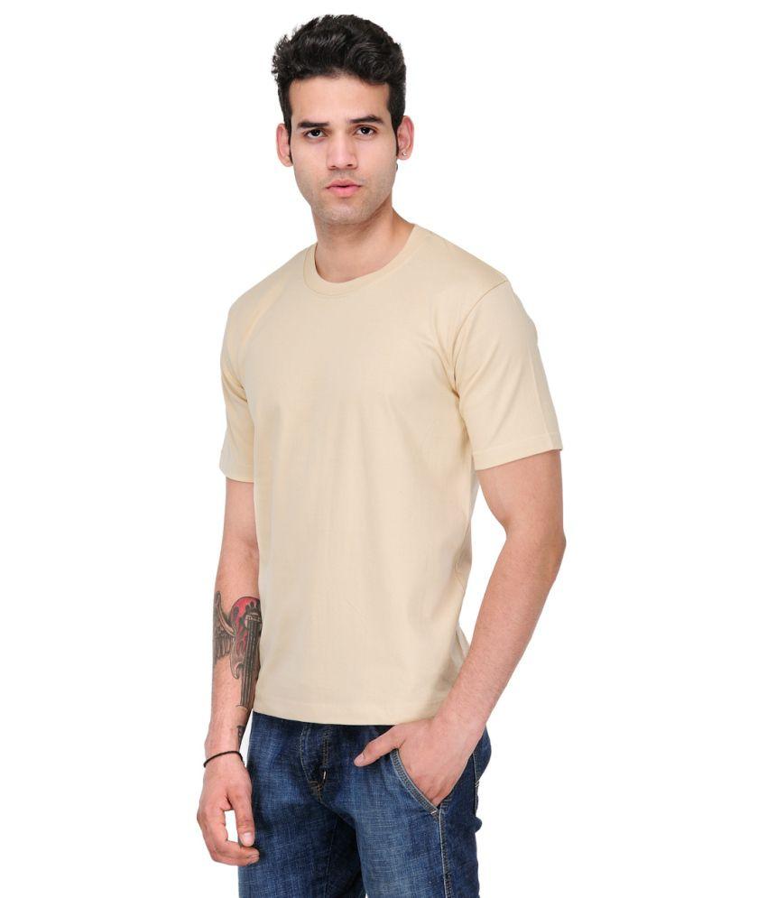Scott Star11 Beige Cotton Blend Round Neck T Shirt