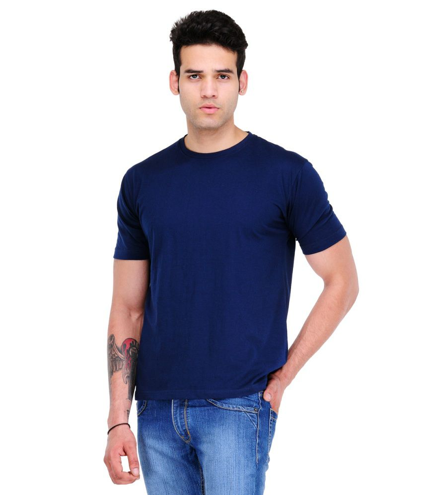 Scott Star11 Navy Cotton Blend Round Neck T Shirt