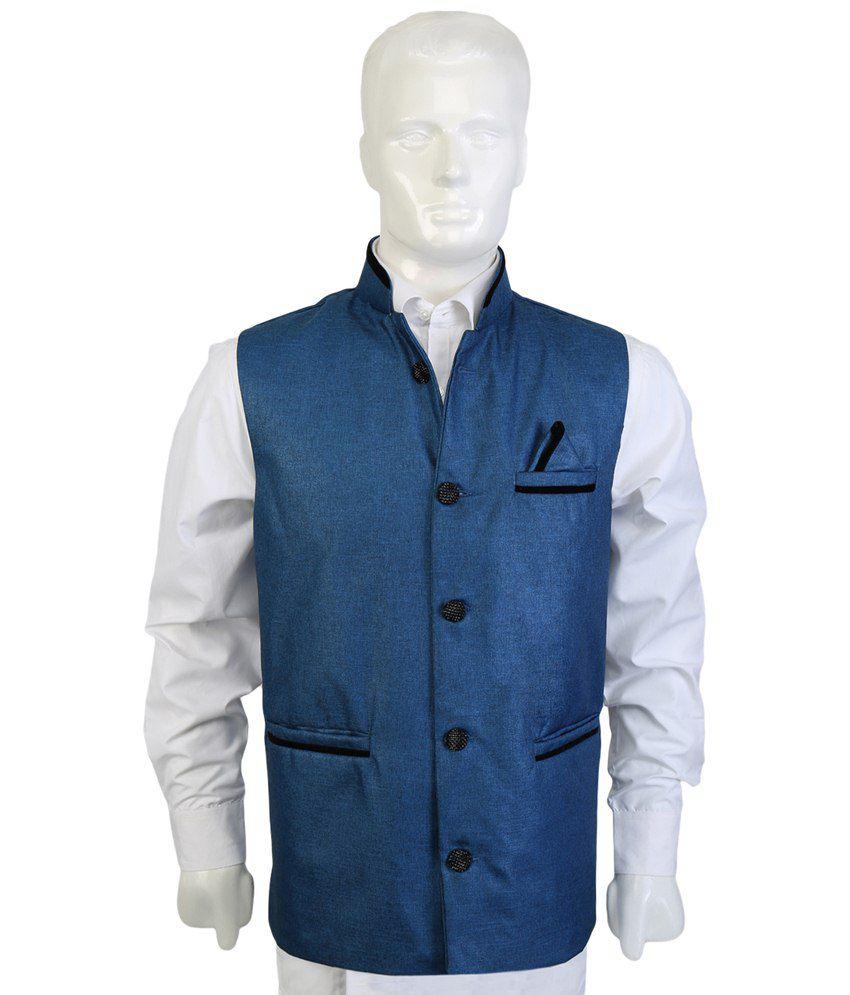 Selfieseven Blue & Black Party Wear Waistcoat