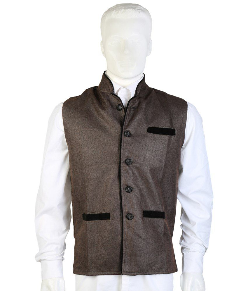 Selfieseven Brown Party Wear Waistcoat