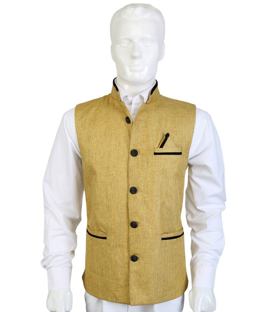 Selfieseven Golden & Black Party Wear Waistcoat