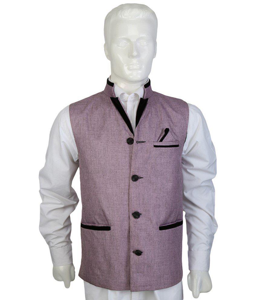 Selfieseven Stylish Purple Party Wear Waistcoat