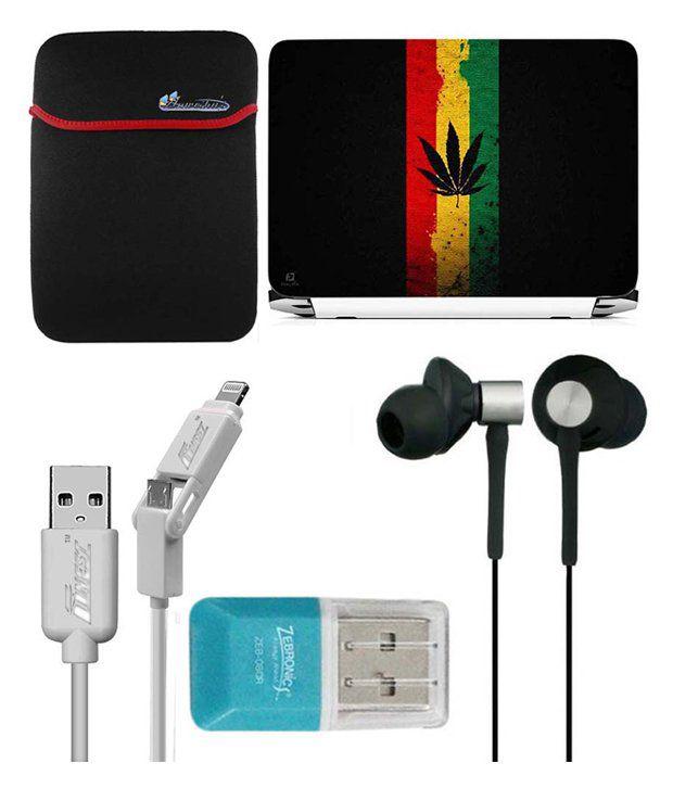 Anwesha's Laptop Sleeve With Lightning & Micro Usb Cable Ubon Ub-85 Earphone Card Reader And Laptop Skin - Americal Weeds Center