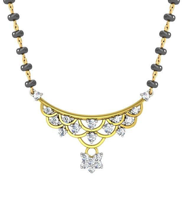 Avsar Stylish 18kt Real Gold & 0.30 Ct Diamond Mangalsutra