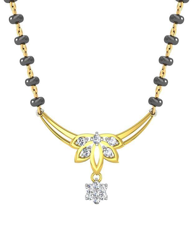 Avsar Stylish 18kt Real Gold & 0.15 Ct Diamond Mangalsutra