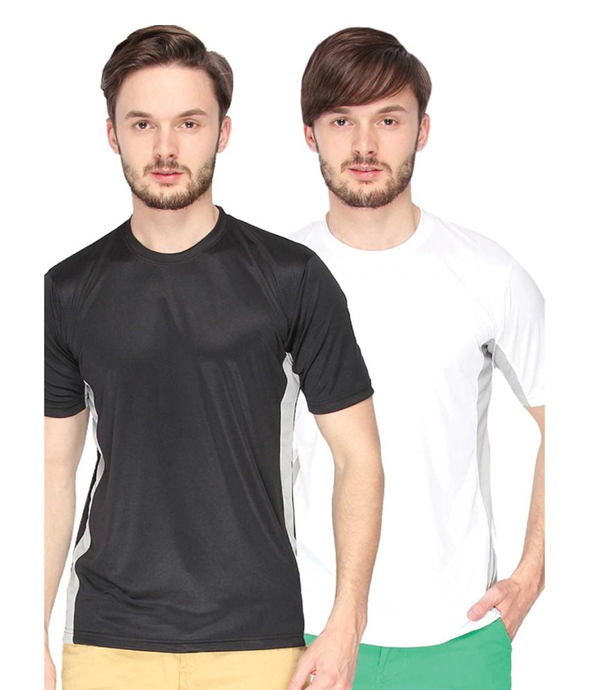 Campus Sutra Black & White Round Neck Jersey (Combo of 2)