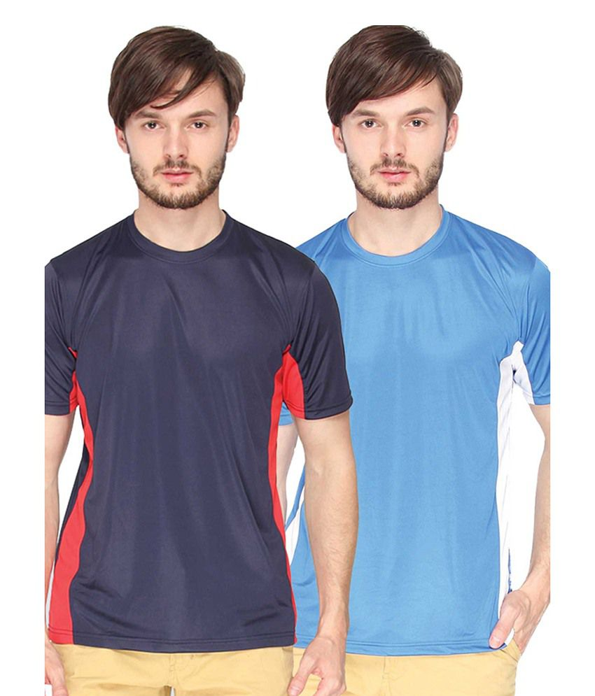 Campus Sutra Blue & Royal Blue Round Neck Jersey (Combo of 2)