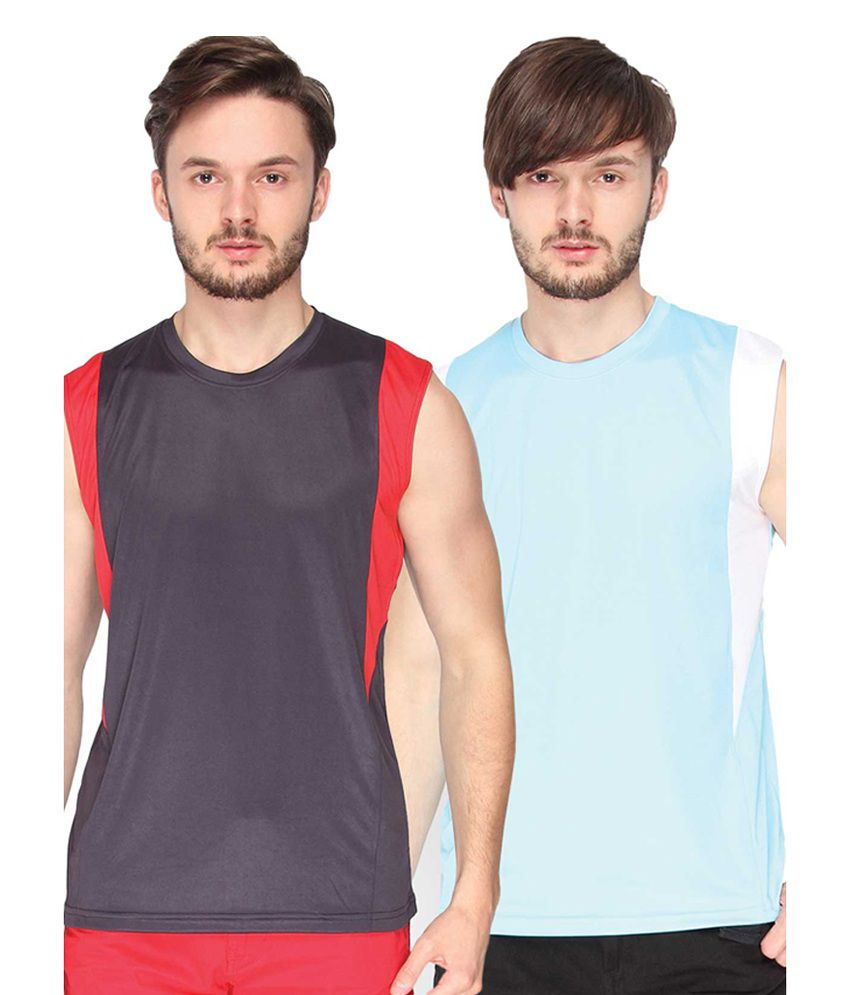Campus Sutra Blue & Sea Green Sleeveless Round Neck Jersey (Combo of 2)