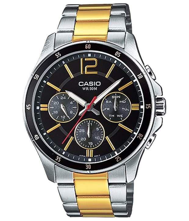 Casio Black & Gold Wrist Watch For Men - Buy Casio Black ...