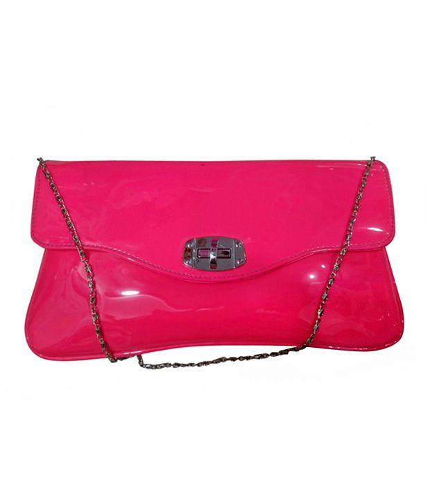 Glitter 53 Pink Stylish Flap Clutch