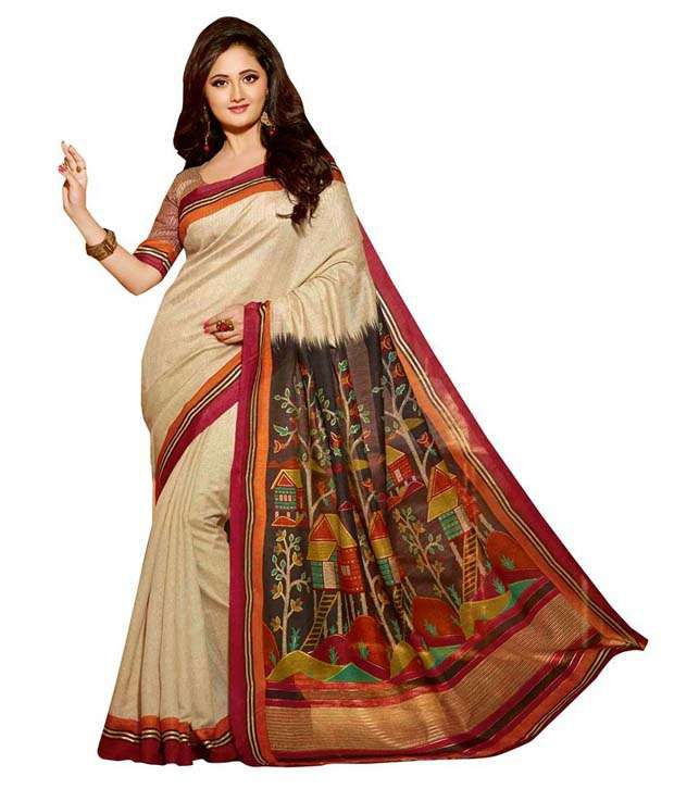 Shree ambe designer sarees beige art silk saree buy for Buy art online india