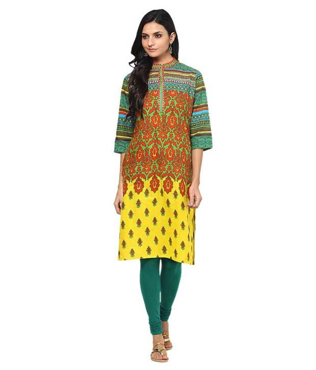 Shree Multi Color Embroidered Cotton Kurti
