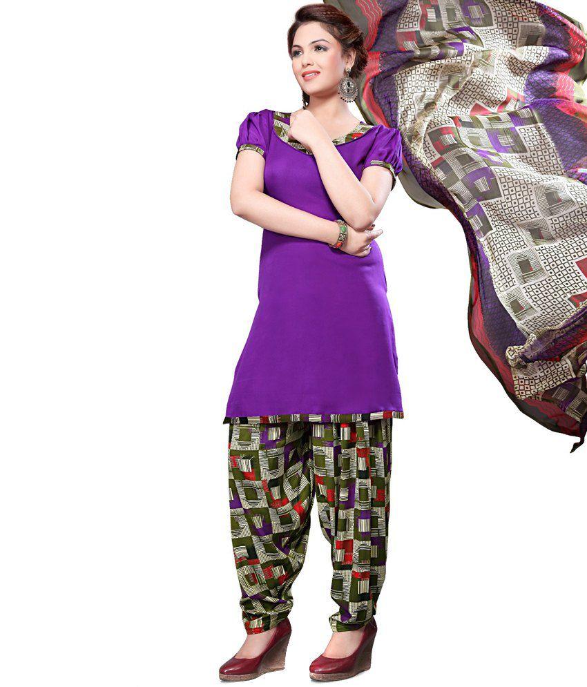 i3 Fashion Purple Art Crepe Unstitched Dress Material