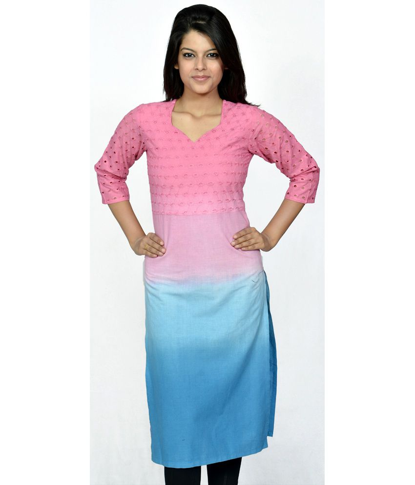 India Craft And Fashions Casual Wear Pink Cotton Kurti