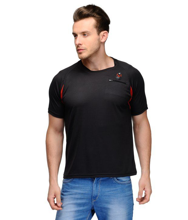 Scott Crackle Sulphur Dryfit Black Polyester Henley Neck Men T Shirt