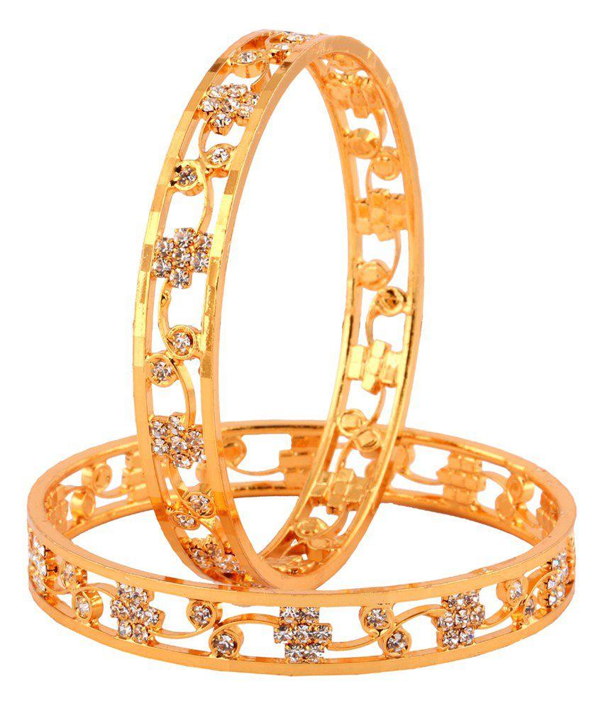 The Jewelbox 22k Gold Plated Nakshatra American Diamond Filigree Bangles Pair