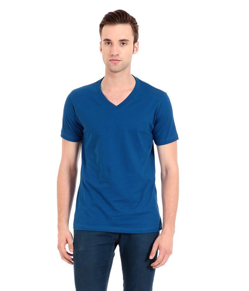Zeug Fashion Royal Blue Cotton V-neck T-shirt