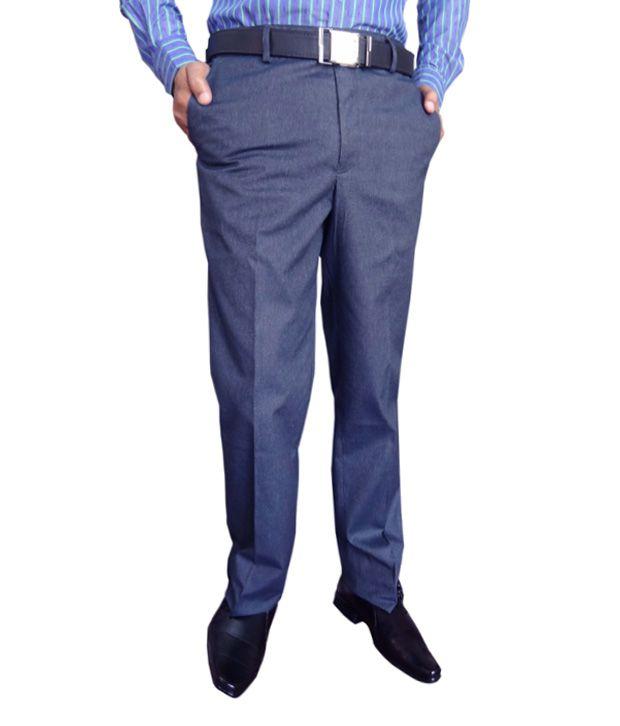 Ad & Av 100 % Cotton Blue Formal Trouser