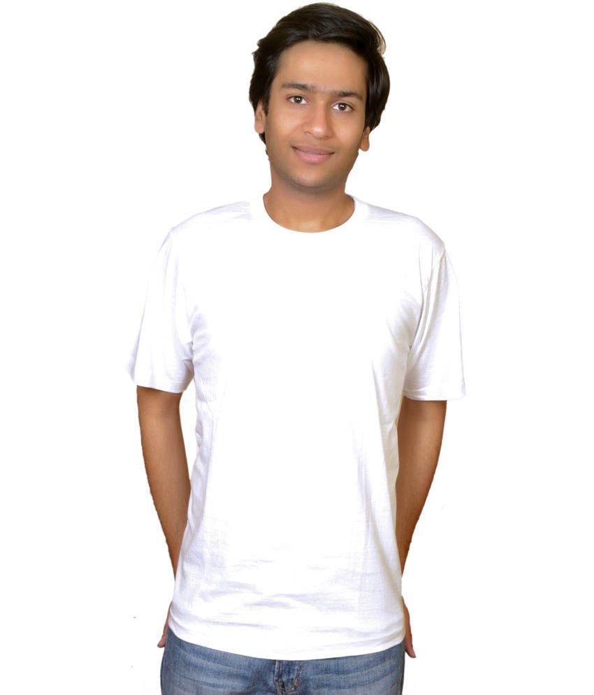 Arunachalam Tex White Cotton T-Shirt