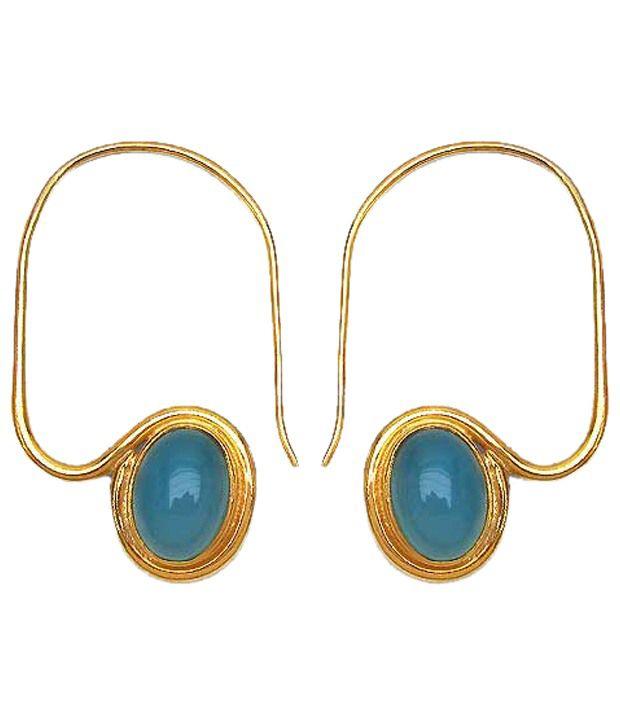 Johareez Golden & Light Blue Gold Plated Ear Cuffs