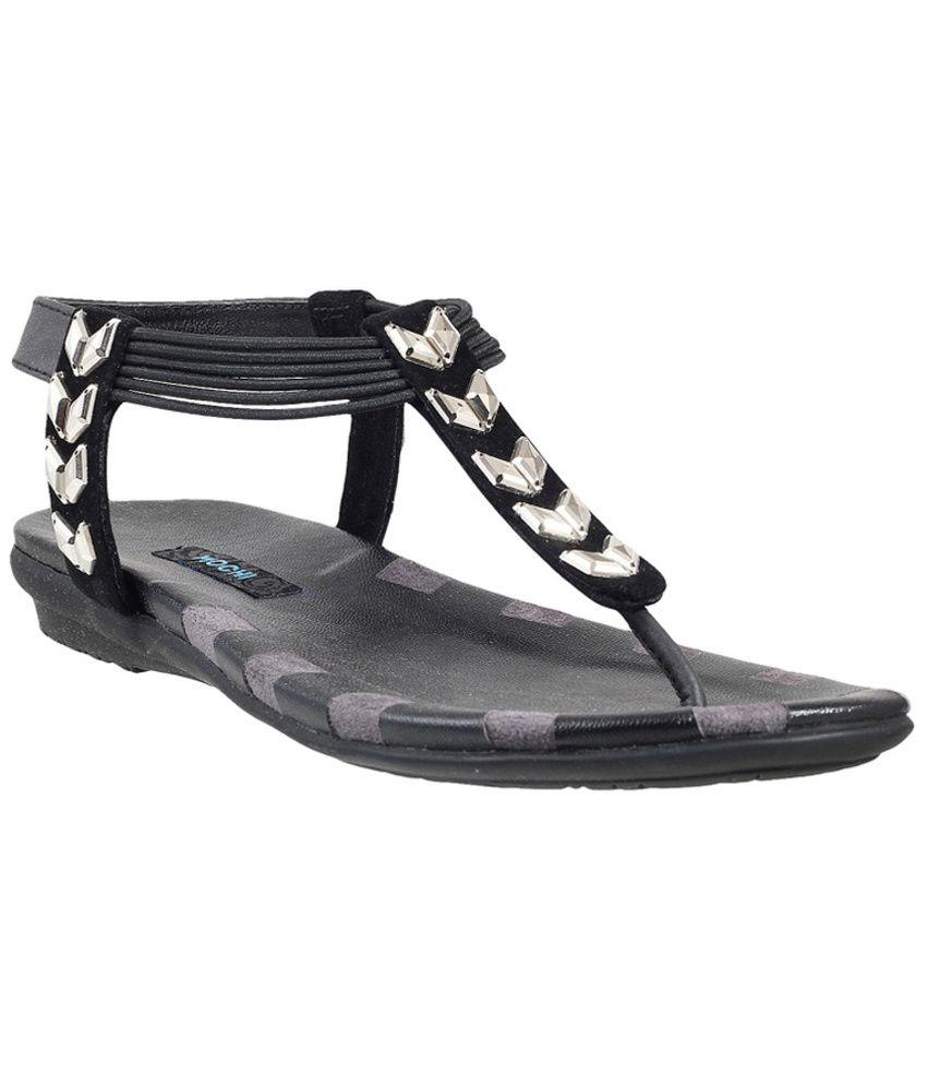 Mochi Black Comfortable Sandal
