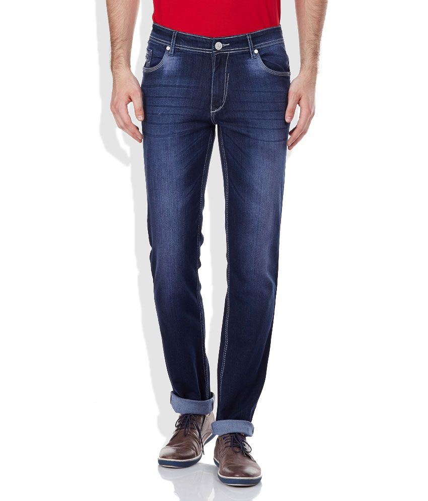 Monte Carlo Blue Cotton Blend Faded Jeans