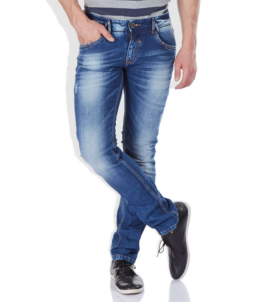 Spykar Blue Skinny Fit Cotton Jeans