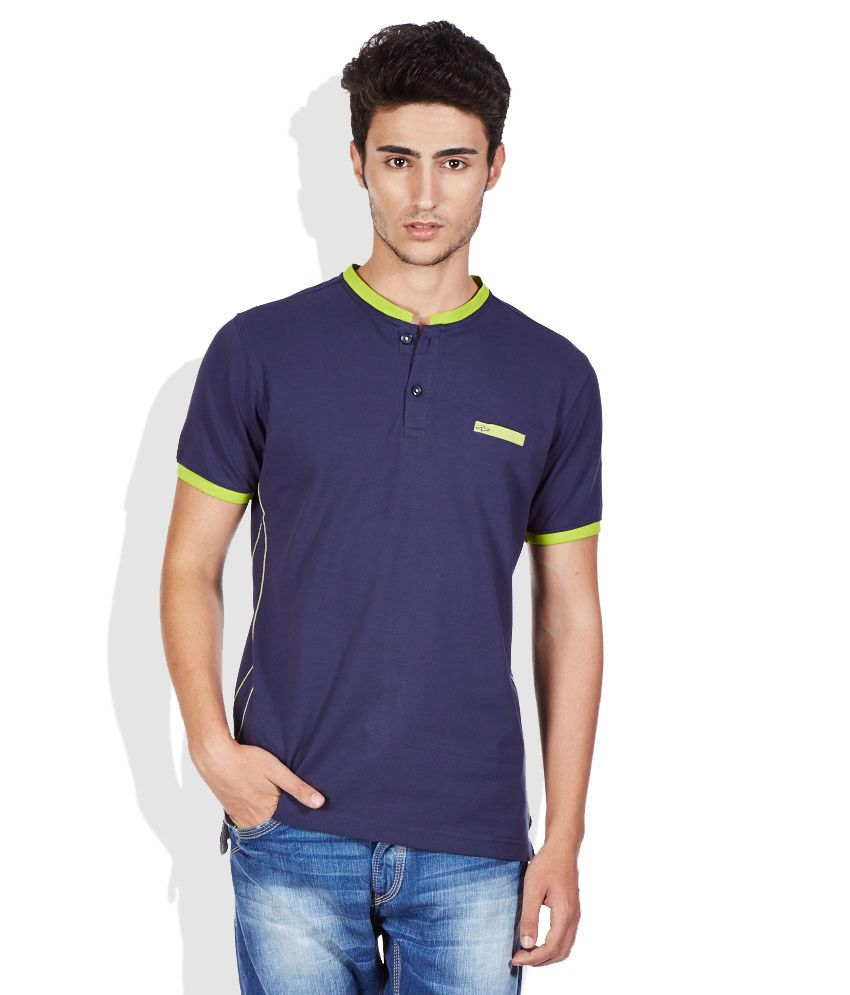 Spykar Navy Band Collar T Shirt