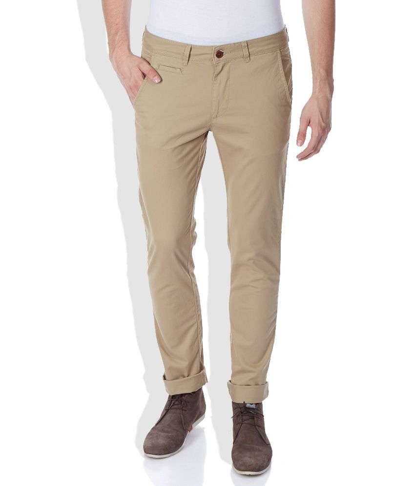 United Colors of Benetton Beige Regular Fit Casual Trousers