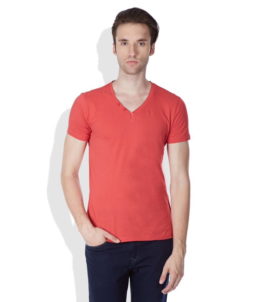 United Colors of Benetton Red Henley T-Shirt