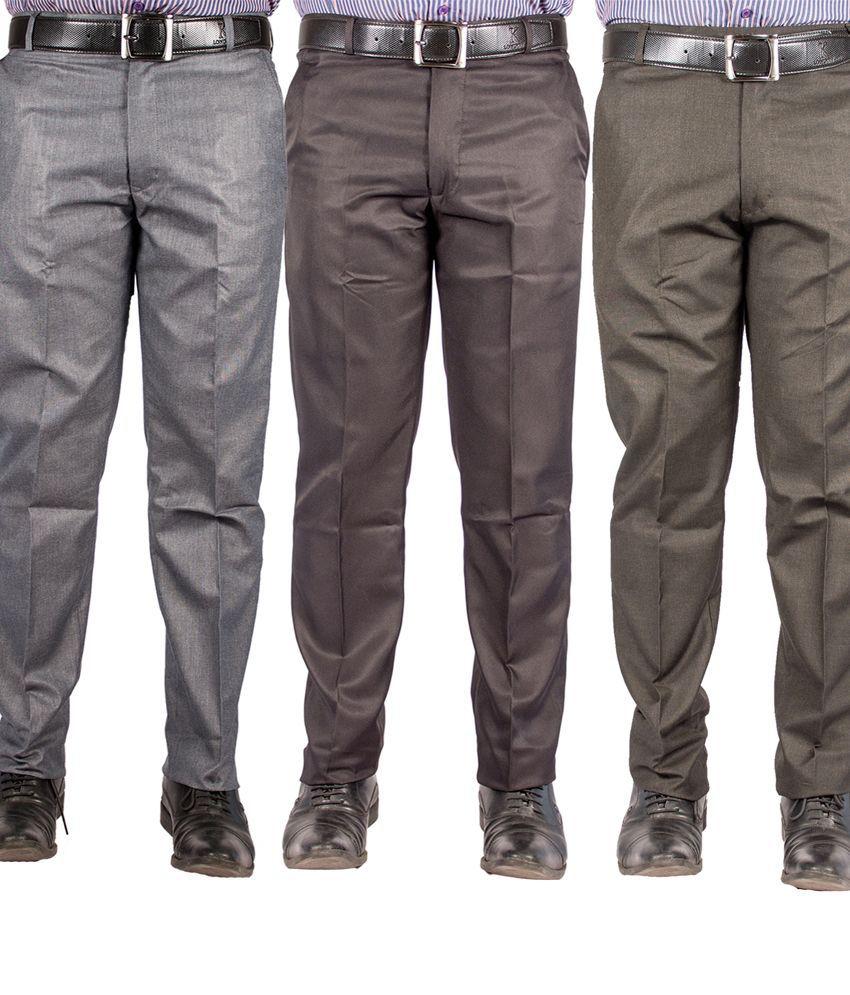 American-Elm Multicolour Cotton Blend Slim Formal Trouser - Combo Of 3