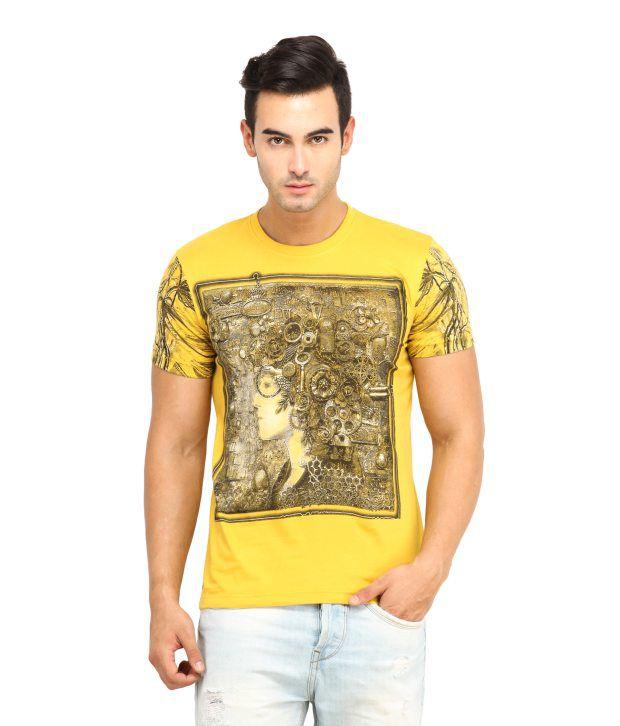 H2 Printed Round Neck Cotton T-shirt - Yellow
