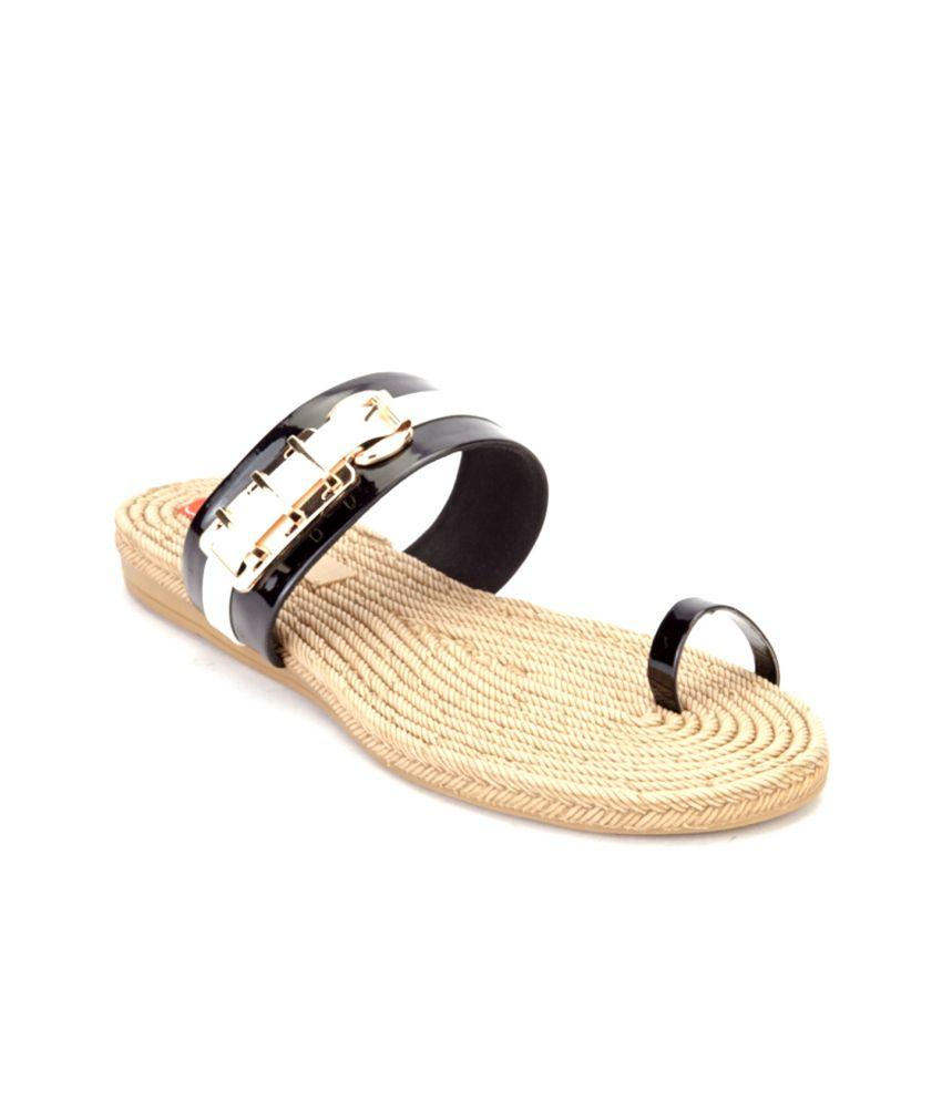 Shibha Footwear Black Flat Slip On