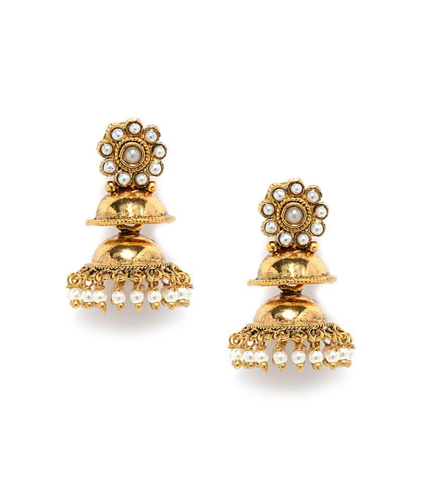 Alankruthi Golden Brass And Copper Etc Push Back Gold Plated Jhumki