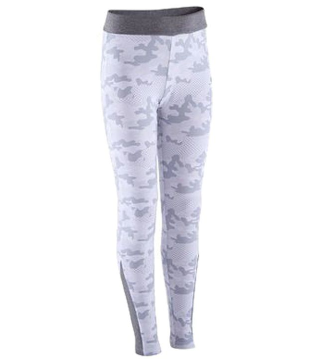 Domyos Gray Camouflage Fitness Leggings For Girls