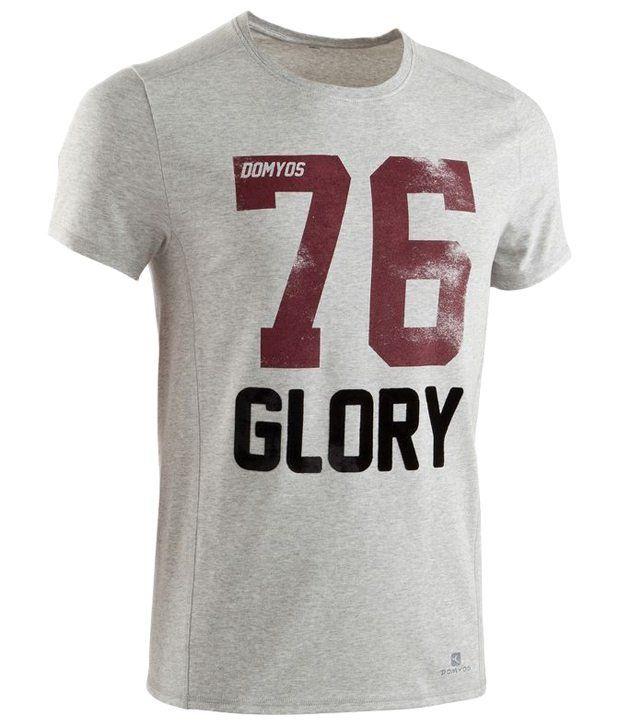 Domyos Gray & Maroon Printed Fitness T Shirt